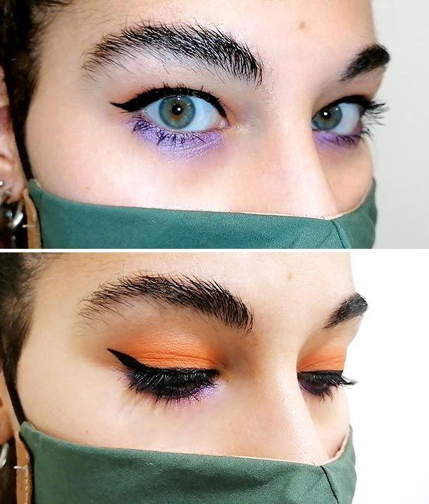 Look de maquillaje de ojos con mascarilla verde