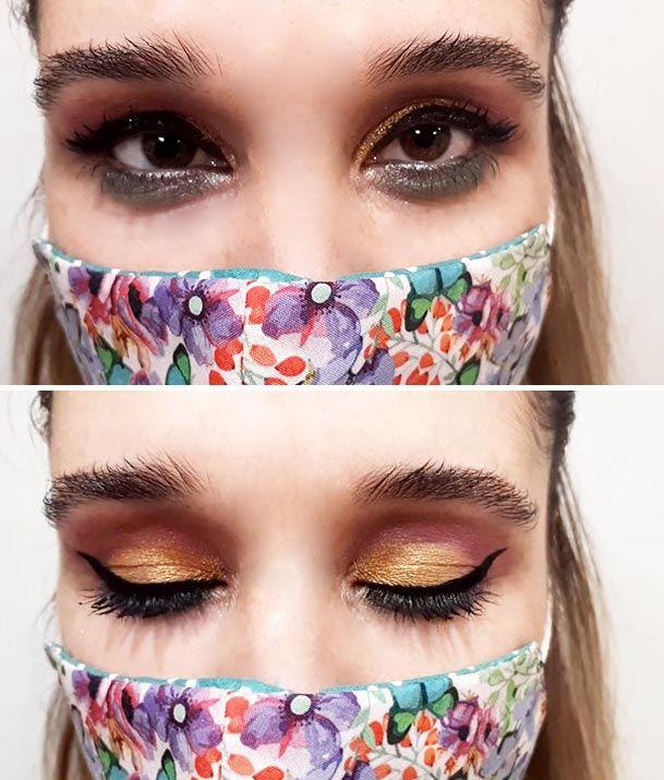 Look de maquillaje de ojos con mascarilla flores