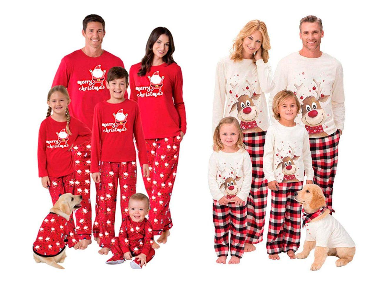 pijamas navideños de familia - padres, hijos y mascotas