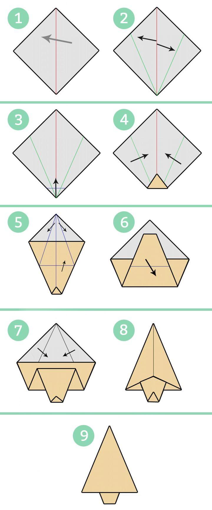Árbol de Navidad de origami o papiroflexia paso a paso