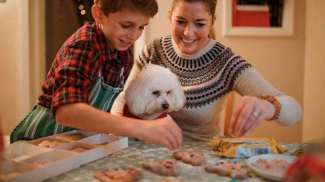 Madre e hijo preparando las recetas para su perro