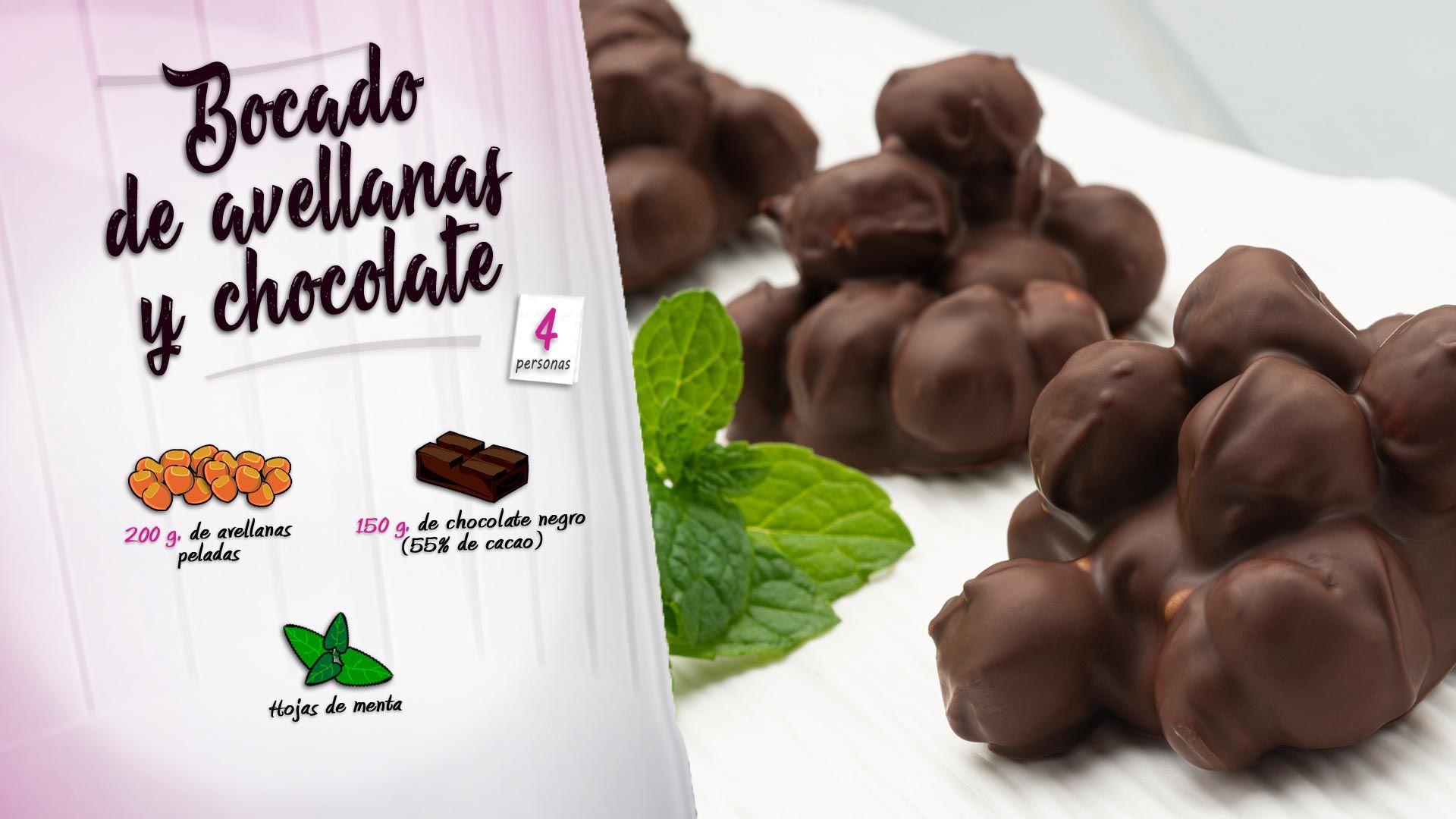 Bocado de avellanas y chocolate
