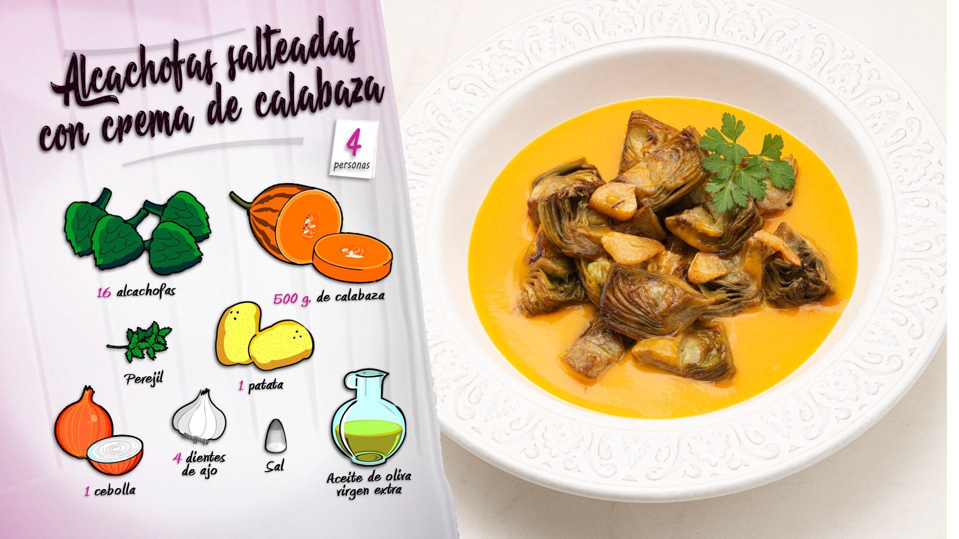 Alcachofas salteadas con crema de calabaza, la receta de Karlos Arguiñano - Ingredientes