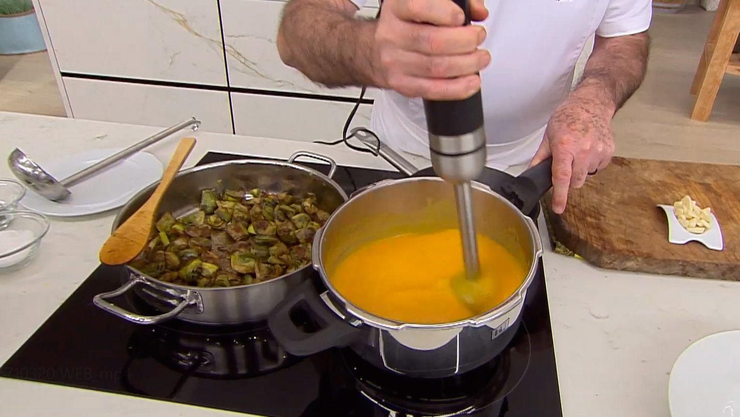 Alcachofas salteadas con crema de calabaza - paso 3