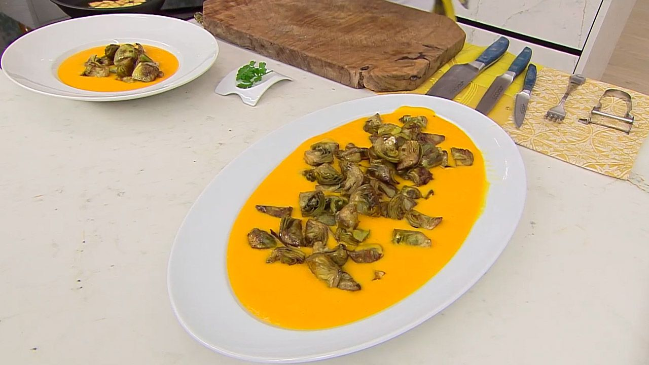Alcachofas salteadas con crema de calabaza - paso 4