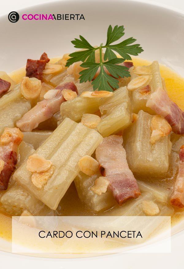 Cardo con panceta y salsa de almendra