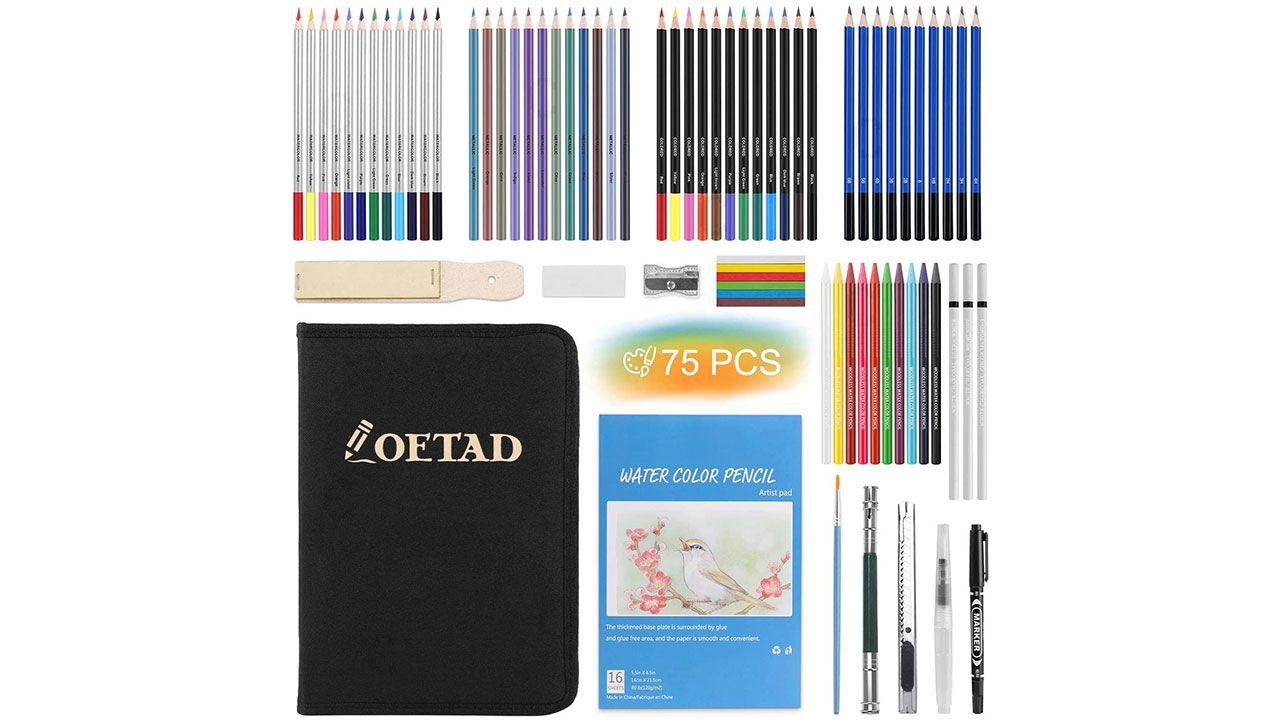 Set de dibujo con cuaderno y pinturas