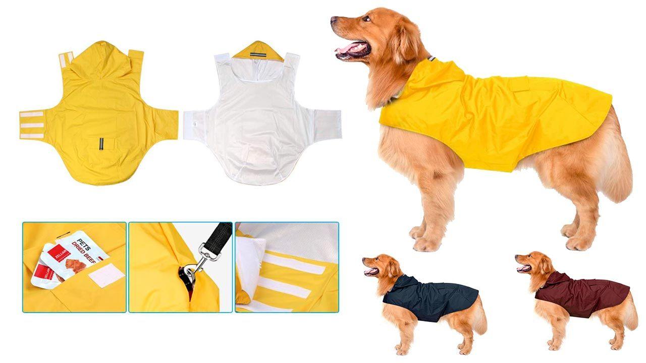 Chubasquero con capucha y tiras reflectoras (para perros)