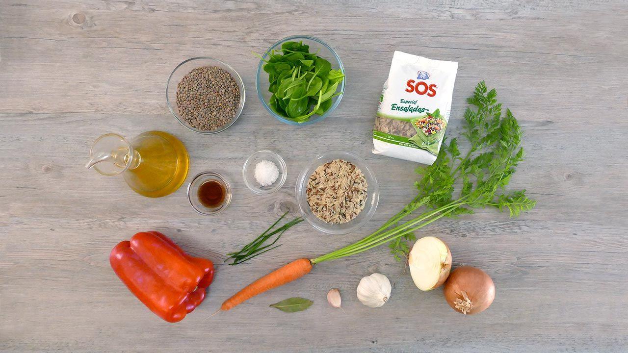 Ingredientes de la receta Ensalada templada de arroz con lentejas
