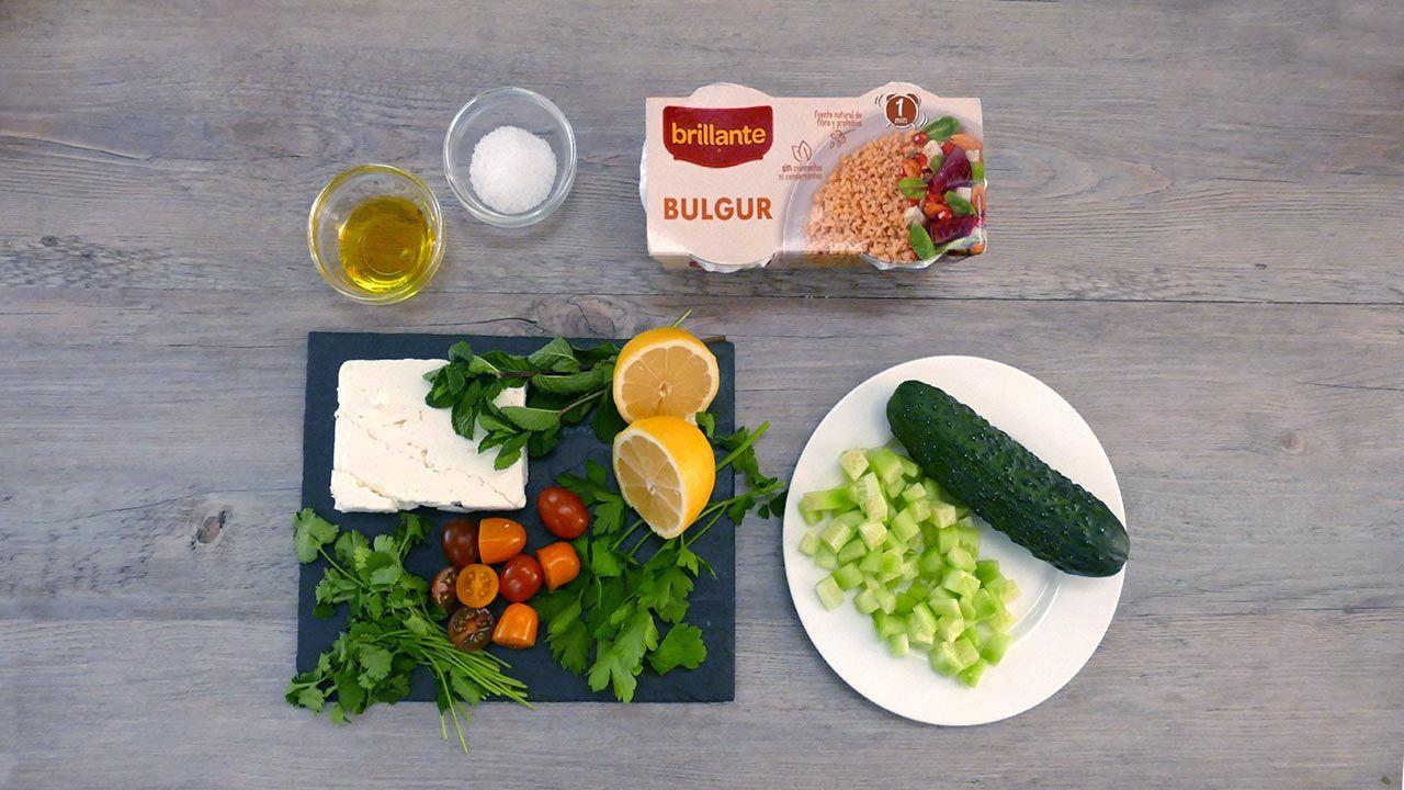 Ingredientes Tabulé con queso feta, ensalada de bulgur