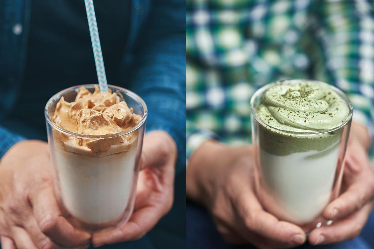 Dalgona Matcha con café y con té matcha