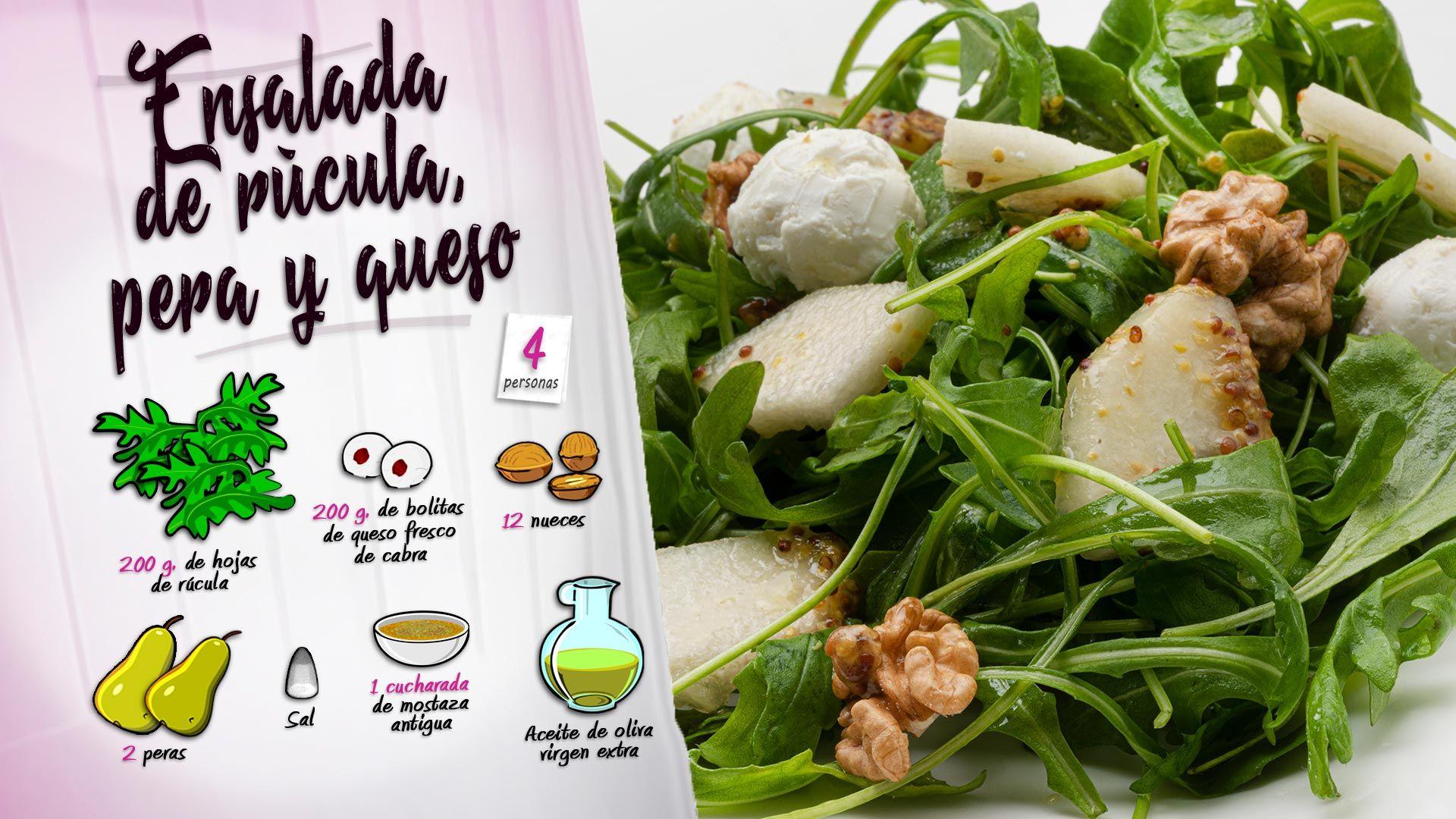 Ensalada de rúcula, pera y queso