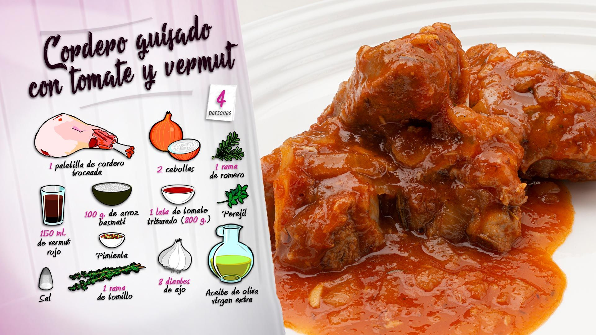 Cordero guisado con tomate y vermut