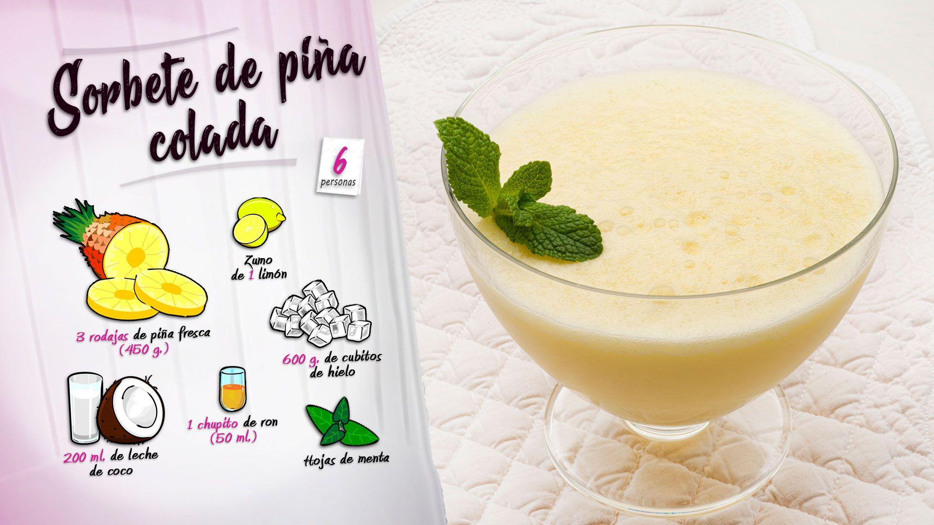 Sorbete de piña colada con leche de coco, receta fácil y rápida de Karlos Arguiñano - Ingredientes