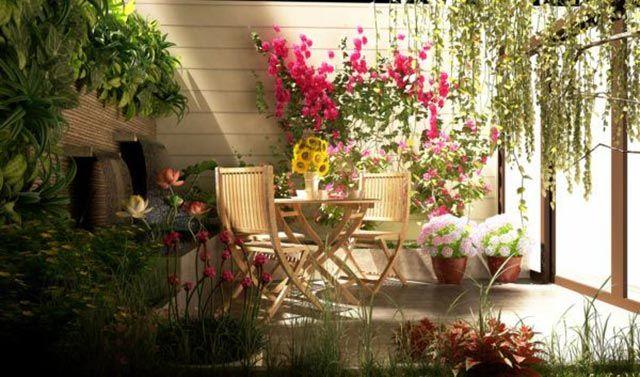 Muebles sencillos para decorar un jardín pequeño