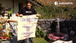 Jardineras originales con sacos de café
