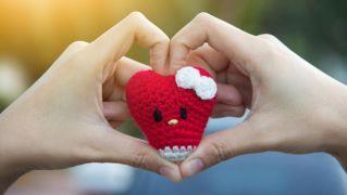 Corazón kawaii de crochet para San Valentín