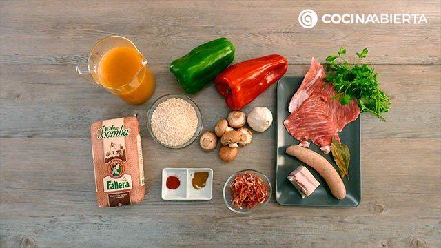 Ingredientes de la receta de Paella montañesa con setas