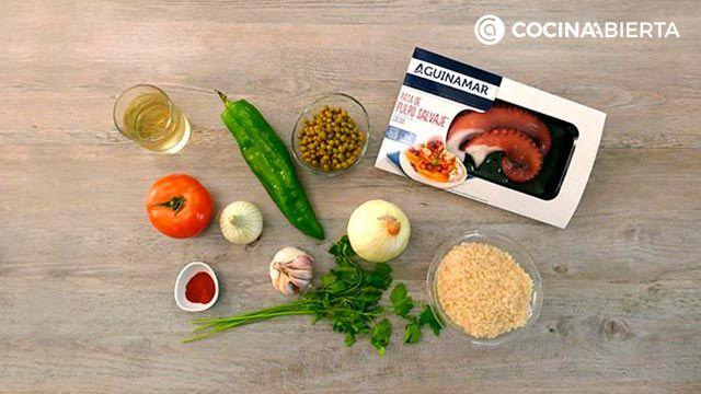 Ingredientes de la receta de Arroz meloso con pulpo