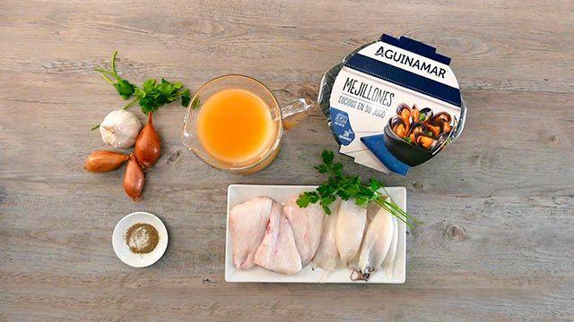 Sopa de pescado con calamares y mejillones - ingredientes