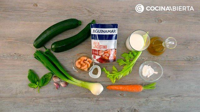 Ingredientes de la receta de Canelones de calabacín rellenos de langostinos y verduras