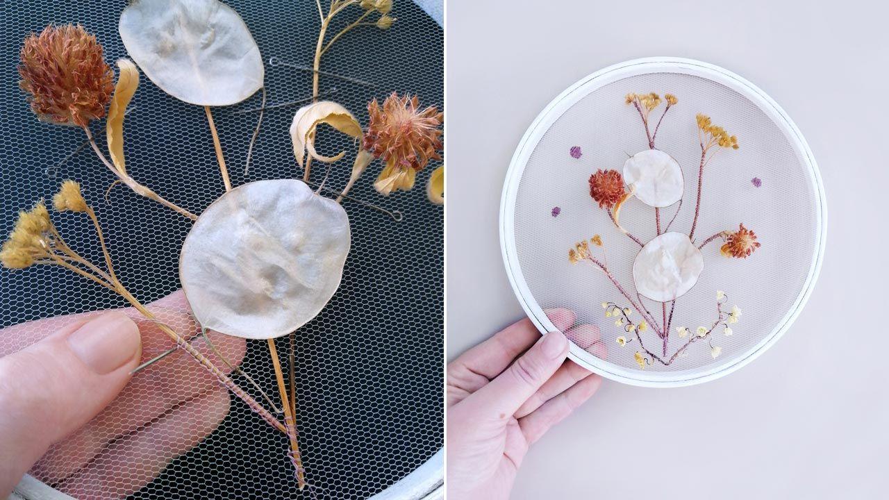 Cuadro con flores bordadas