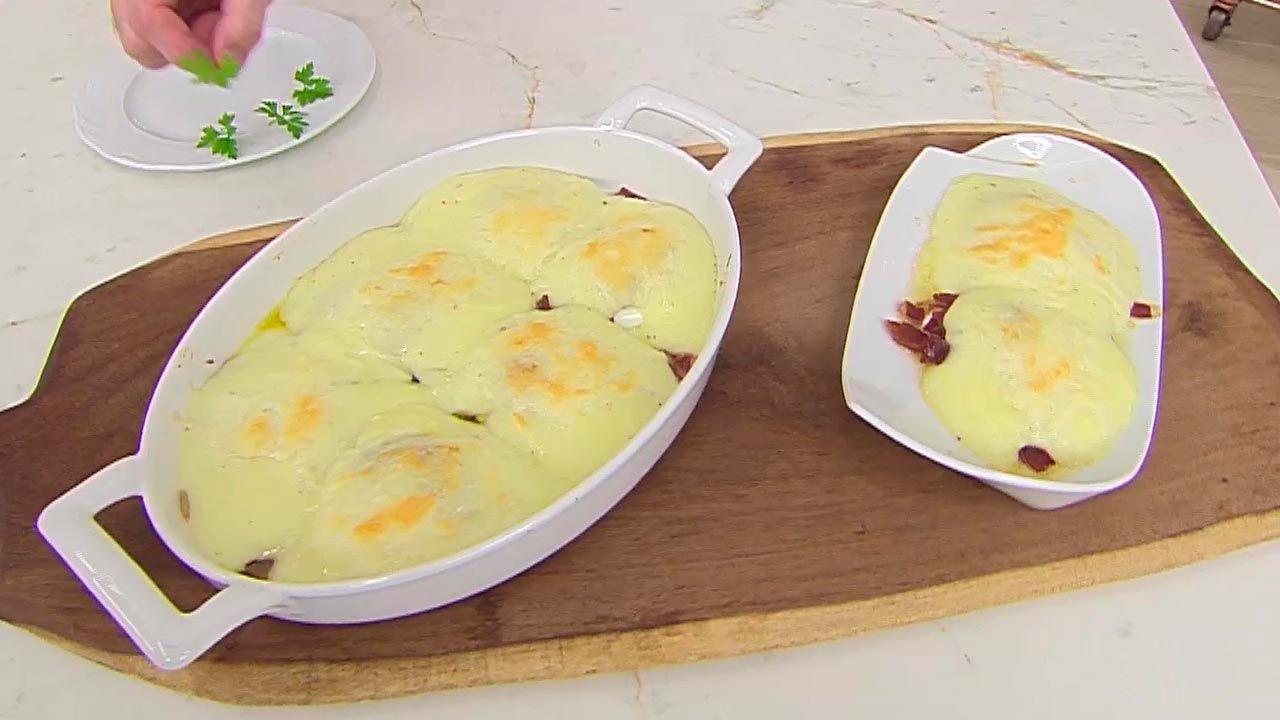 Huevos gratinados con patata y queso