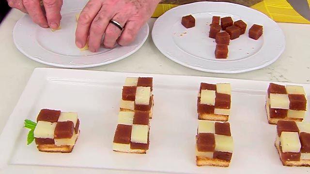Bocados de queso y membrillo