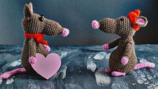 Ratones de crochet para San Valentín