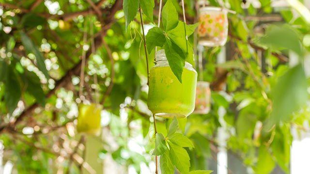 Decorar el jardín con tarros de cristal