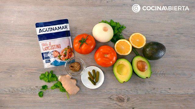Ingredientes de la receta Timbal de aguacate y langostinos