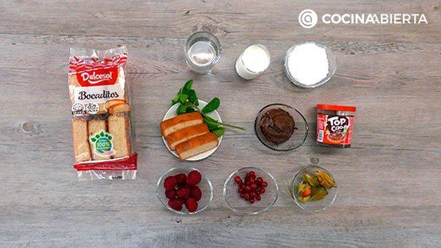Ingredientes de la receta Tarta de chocolate y bizcocho