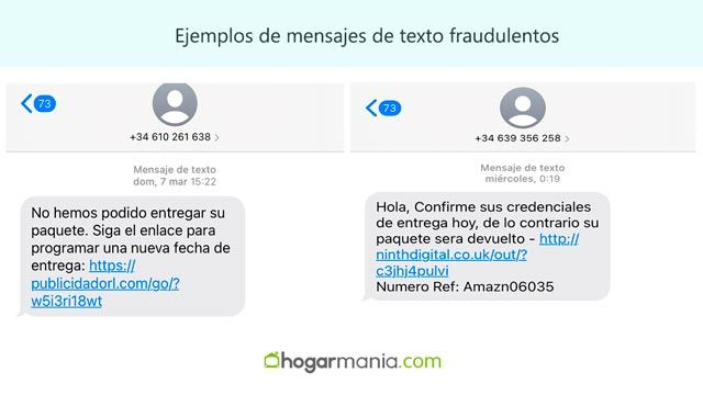 ejemplos de mensajes de texto fraudulentos (smishing)
