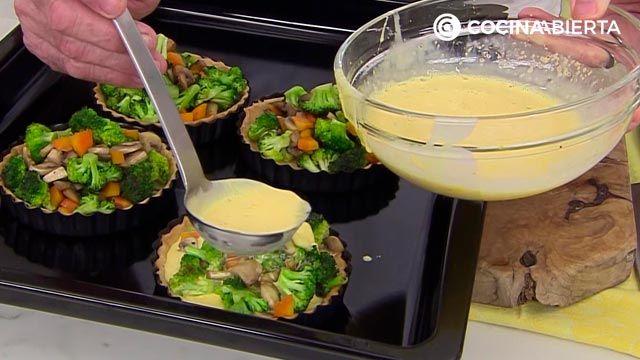 Quiche de brócoli y champiñones