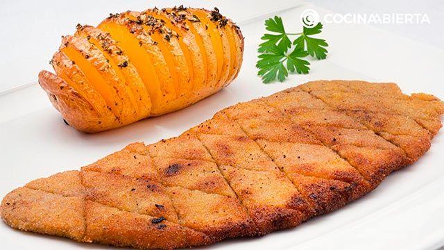 Receta de escalopes con patatas Hasselback de Karlos Arguiñano