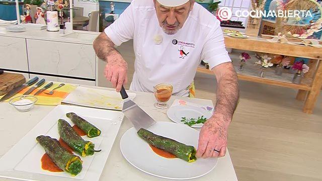 Pimientos verdes rellenos de tortilla de patata, la receta de Karlos Arguiñano - paso 4