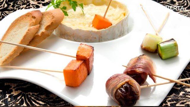 recetas con dátiles - fondue de queso
