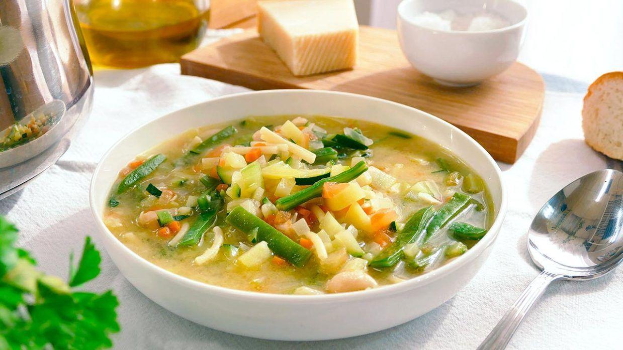Sopa minestrone con alubias blancas