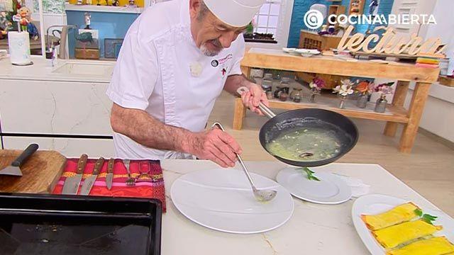Crepes rellenos de txangurro con salsa verde por Karlos Arguiñano - paso 7