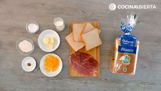 Ingredientes de la receta de Croque de jamón serrano, bechamel y queso fundido
