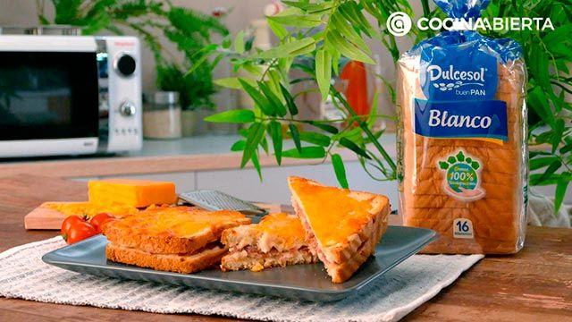 Paso 4 de la receta de Croque de jamón, bechamel y queso fundido