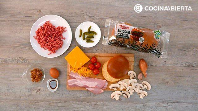 Ingredientes de la receta Hamburguesa de carne picada y champiñones
