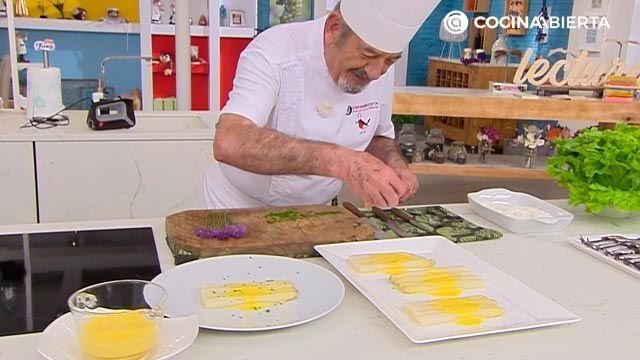 Espárragos blancos con sabayón de txakoli por Karlos Arguiñano - paso 5