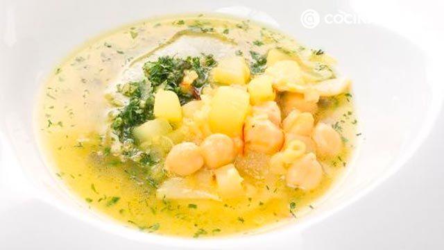 receta de sopa de quinoa con garbanzos