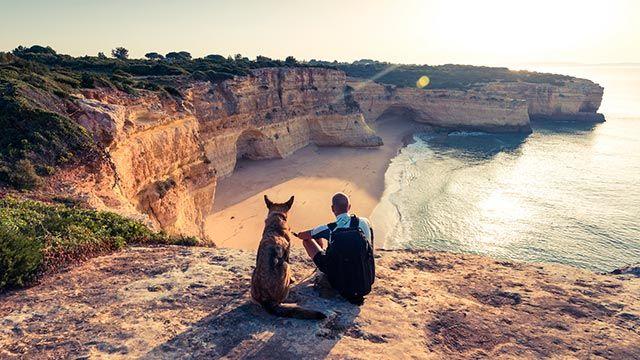 Alojamientos y playas aptas para mascotas - Perro y su dueño observando el mar
