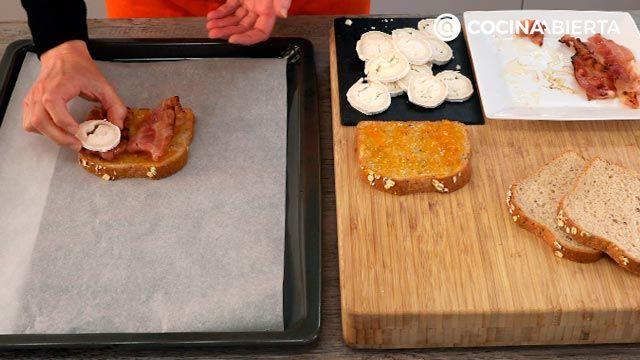 Croque de queso de cabra y bacon