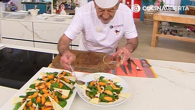 Ensalada de espinacas frescas, queso y albaricoques: la receta original y el aliño especial de Karlos Arguiñano - paso 6