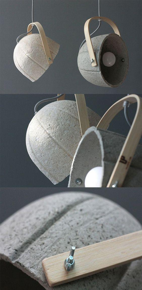 Lámpara de cemento con madera