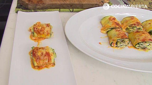 Rollitos de calabacín con jamón y queso