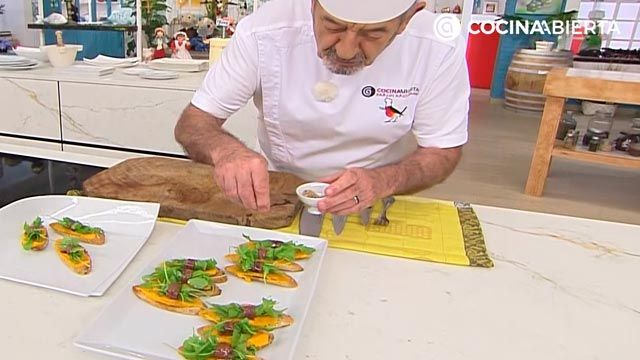Pintxo de anchoa y rúcula con crema de zanahoria: ¡un aperitivo fácil y rápido de Karlos Arguiñano! - paso 5